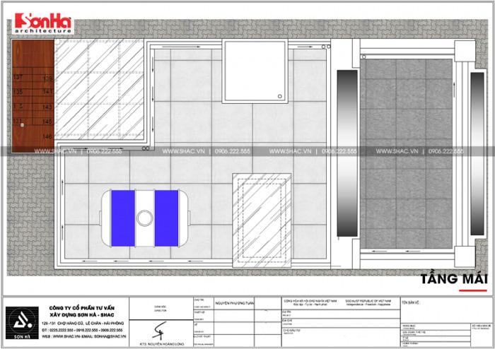 Bản vẽ mặt bằng tầng mái khách sạn kết hợp căn hộ cho thuê tiêu chuẩn 3 sao tại Hải Phòng