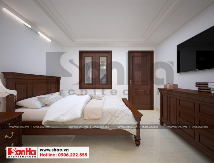 Nội thất được bài trí trong không gian phòng ngủ cũng rất đơn giản