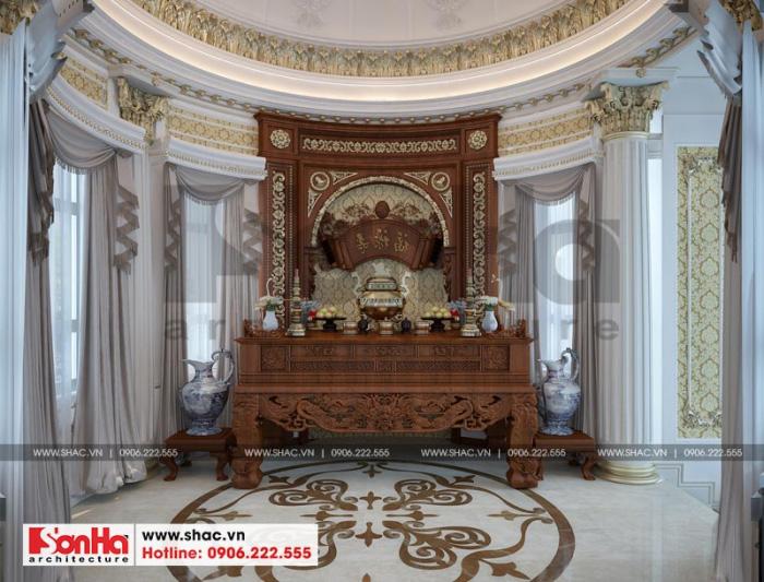 Thiết kế nội thất phòng thờ với tạo hình đường nét tinh tế
