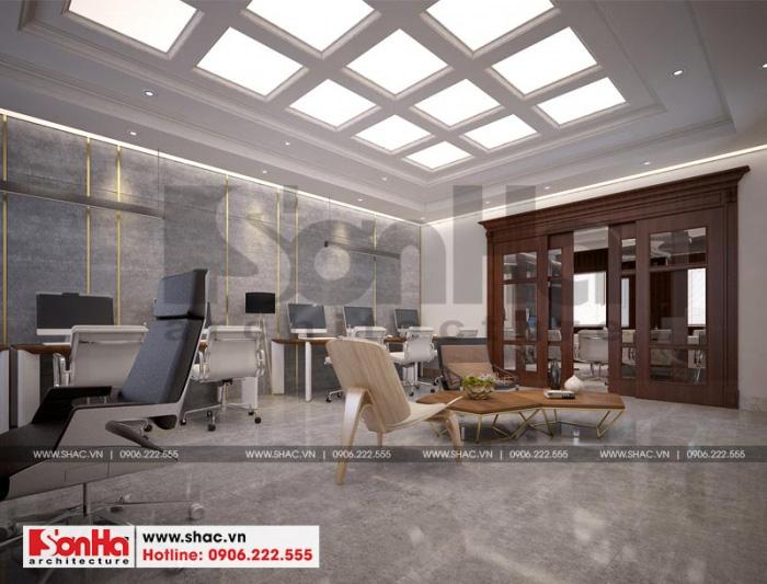 Nội thất phòng làm việc được thiết kế với màu sắc hiện đại và hợp thời