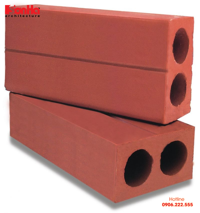 Gạch đỏ 2 lỗ thường được sử dụng xây dựng các khu vực không chịu lực