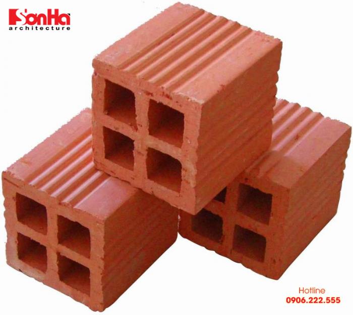 Gạch đỏ rổng 4 lỗ có kích thước phổ biến là 190x80x80mm, thường xây tường dày 100mm