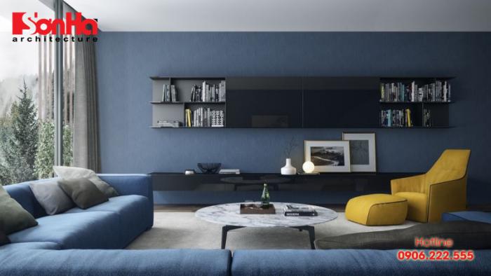 Mẫu thiết kế phòng khách màu xanh phong thủy cho người vợ mệnh Mộc
