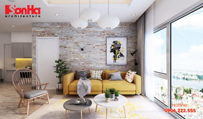 Thiết kế nội thất phòng khách đẹp với gạch trang trí nhã nhặn