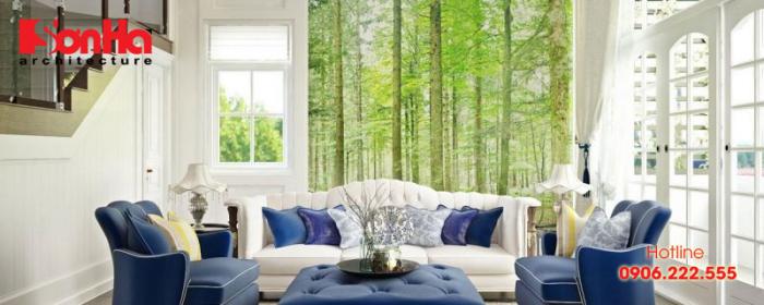 Thiết kế phòng khách đẹp và sang với ánh sáng tự nhiên phù hợp