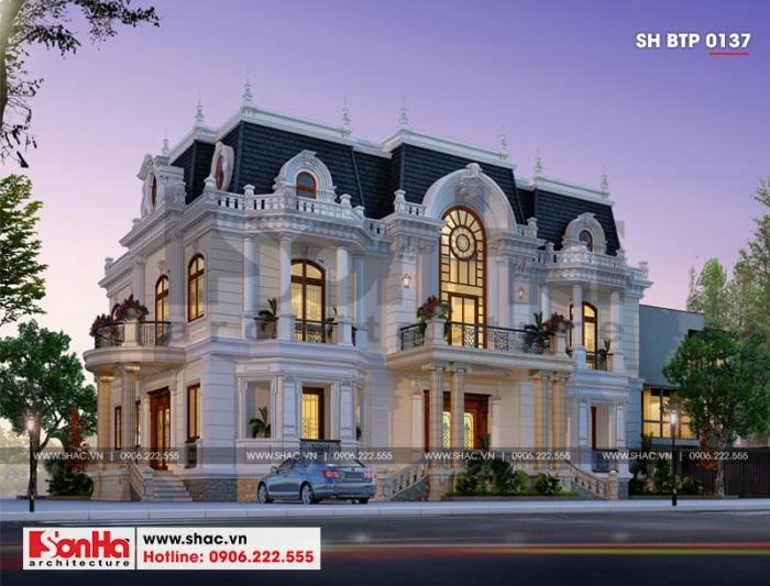Thiết kế biệt thự Pháp cổ điển 3 tầng với hệ thống mái ngói xanh đen đặc trưng