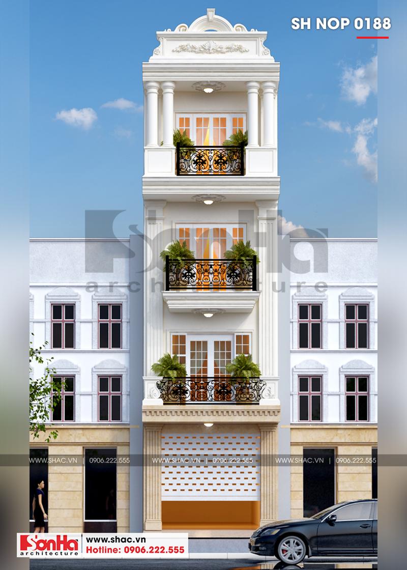 Mẫu thiết kế nhà phố tân cổ điển đẹp 4 tầng có gara ô tô tại Hải Phòng