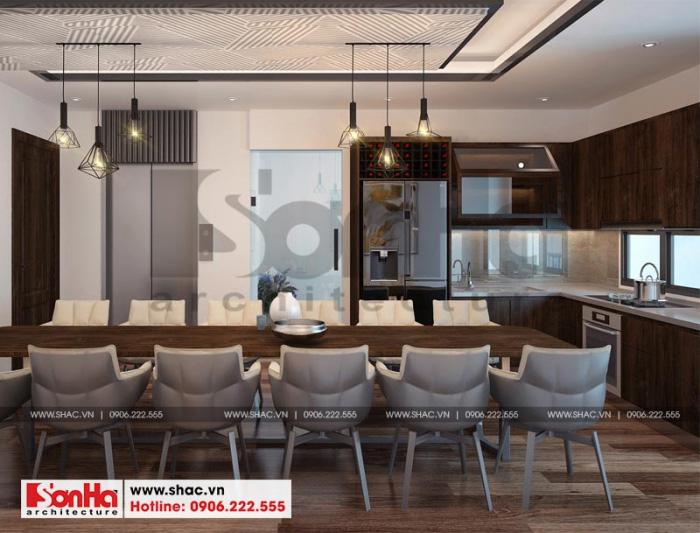 Thiết kế nội thất phòng bếp ăn hiện đại trong không gian tòa nhà văn phòng