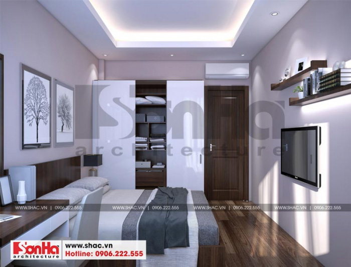Mẫu thiết kế phòng ngủ đẹp phong cách hiện đại cho nhà ống 3 tầng