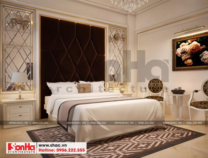 Phòng ngủ khách sạn 3 sao với tone màu chủ đạo là vàng kem tinh tế