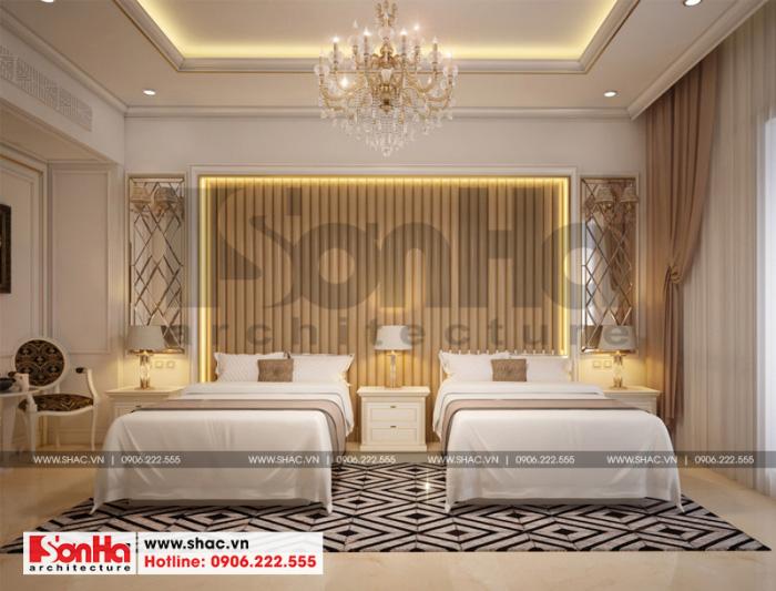 Thiết kế nội thất phòng ngủ đôi của khách sạn 3 sao tại Bắc Ninh