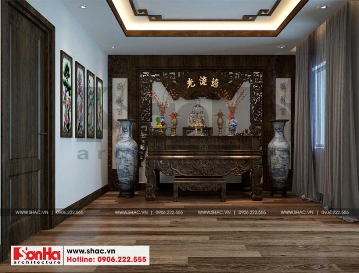 Thiết kế nội thất phòng thờ với nội thất gỗ và sàn gỗ với màu sắc xuyên suốt