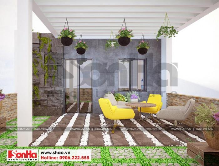 Phương án thiết kế tiểu cảnh sân vườn tầng thượng nhà phố kết hợp phòng làm việc