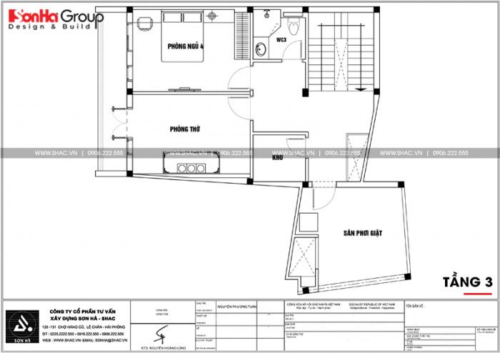 Bản vẽ mặt bằng công năng tầng 3 nhà ống hiện đại chữ L tại Hải Phòng