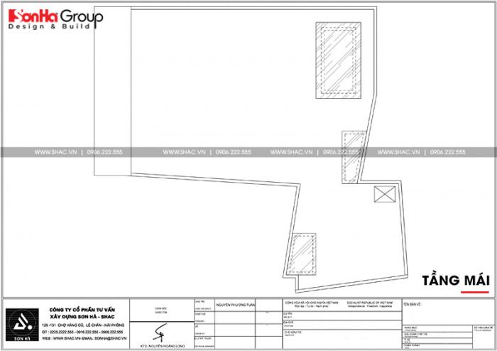 Bản vẽ mặt bằng công năng tầng mái nhà ống hiện đại chữ L tại Hải Phòng
