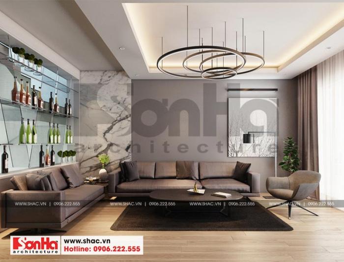 Thiết kế nội thất phòng khách sang trọng tinh tế của ngôi nhà phố tân cổ điển 4 tầng