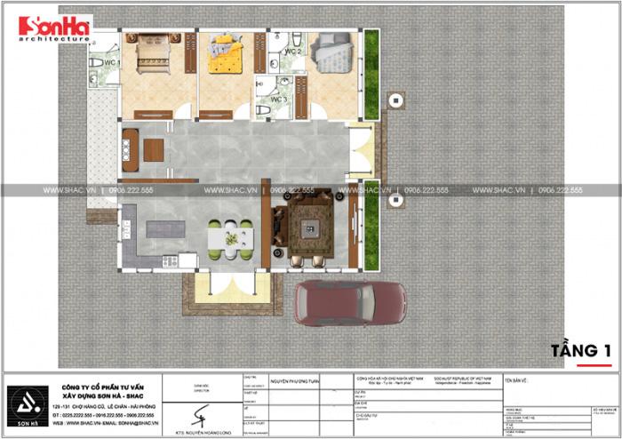 Bản vẽ chi tiết mặt bằng công năng ngôi biệt thự vườn 1 tầng được bố trí khoa học trên diện tích 130m2
