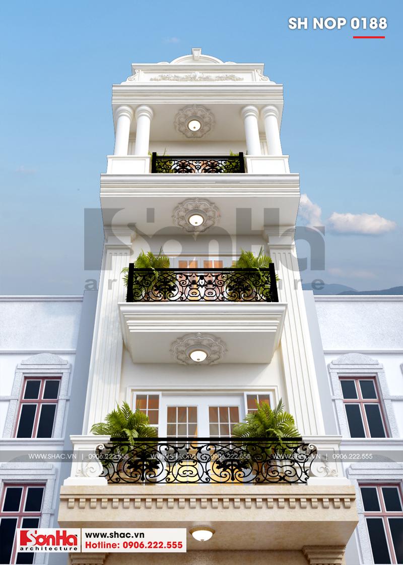Cận cảnh đường nét tinh tế tạo nên mặt tiền nhà phố đẹp phong cách tân cổ điển