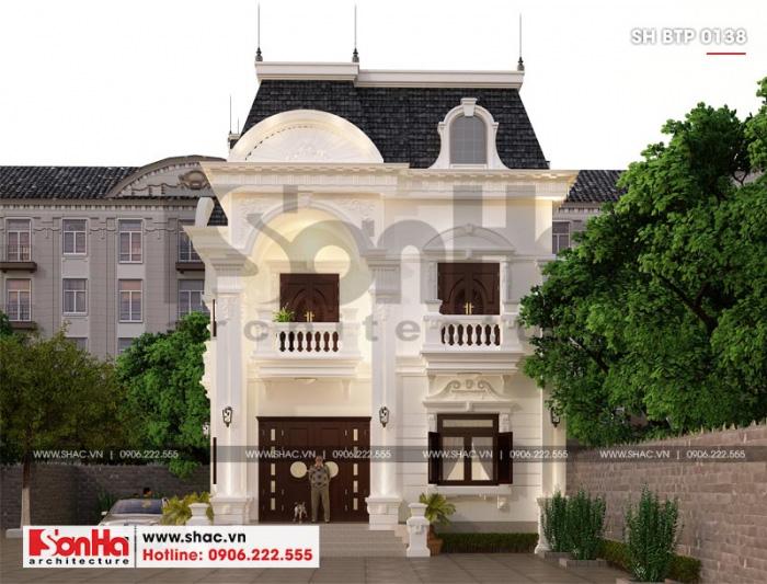 Cận cảnh đường nét tinh tế mặt tiền 9,2m của biệt thự tân cổ điển tại Đồng Nai
