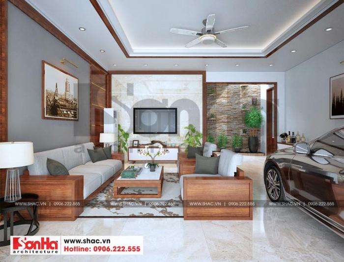 Thiết kế nội thất phòng khách nhà ống phong cách hiện đại sử dụng nội thất gỗ