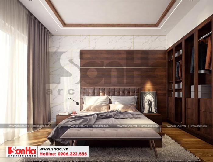 Hình ảnh không gian nội thất phòng ngủ hiện đại với đồ nội thất gỗ sang trọng