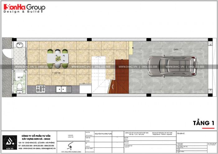Bản vẽ mặt bằng tầng 1 nhà ống tân cổ điển có gara ô tô trong nhà tại Hải Phòng