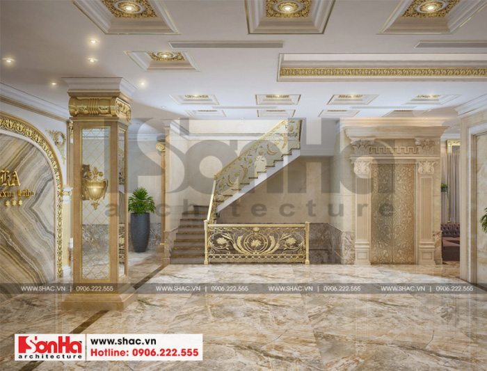 Phương án thiết kế sảnh thang khách sạn đẹp mắt từ vật liệu đến đường nét