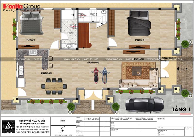 Bản vẽ mặt bằng công năng tầng 1 biệt thự tân cổ điển 6 phòng ngủ tại Đồng Nai