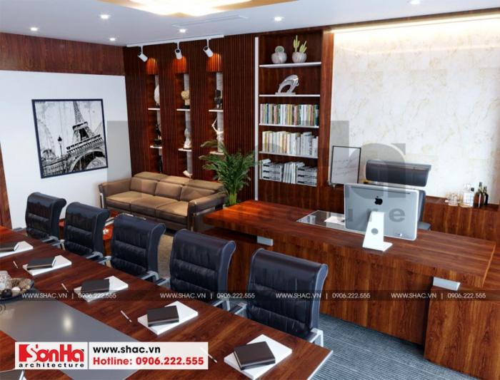 Thiết kế nội thất phòng giám đốc kết hợp phòng họp đẹp với nội thất gỗ