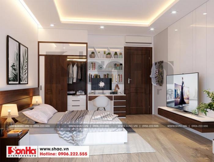 Ngôi nhà phố tân cổ điển có nhiều phòng ngủ được thiết kế đẹp với sàn gỗ