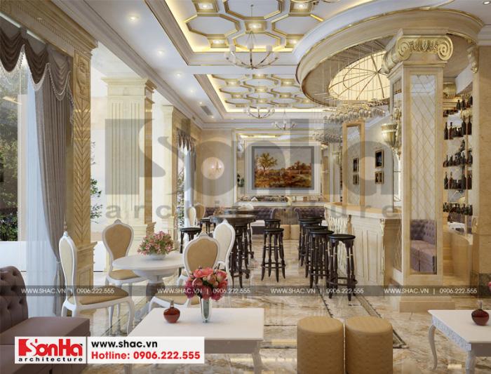 Phong cách và màu sắc xuyên suốt nội thất sảnh khách sạn sang trọng