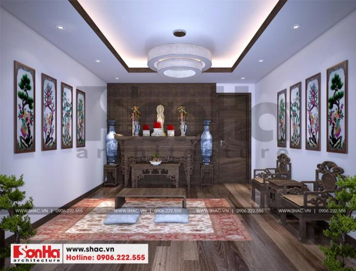 Không gian phòng thờ truyền thống được thiết kế đẹp mắt trong diện tích rộng