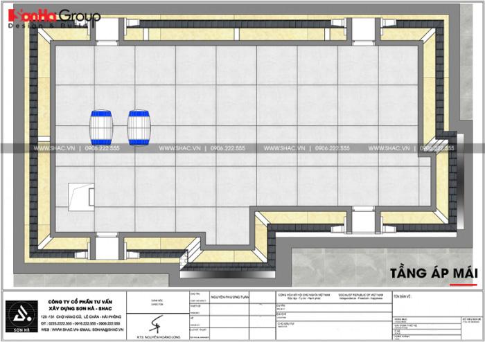 Bản vẽ mặt bằng công năng tầng áp mái biệt thự tân cổ điển 6 phòng ngủ tại Đồng Nai