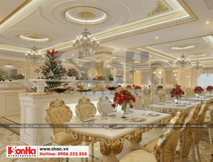 Thiết kế nội thất khu nhà hàng thuộc không gia khách sạn tiêu chuẩn 3 sao