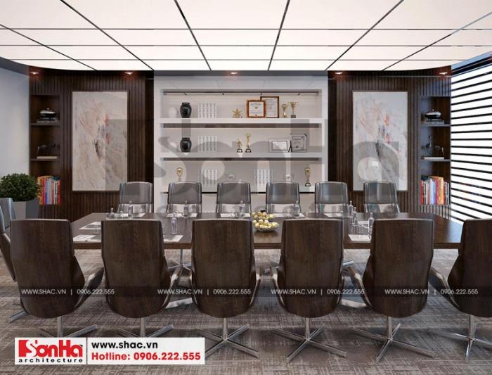 Màu sắc trầm ấm trong thiết kế nội thất phòng họp mang đến sự dễ chịu