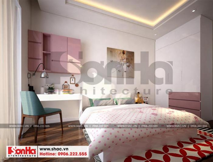 Mẫu phòng ngủ đẹp với gam màu trẻ trung cho nội thất nhà phố hiện đại
