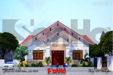 BÌA thiết kế biệt thự tân cổ điển mái thái 1 tầng đẹp tại hải phòng sh btp 0136