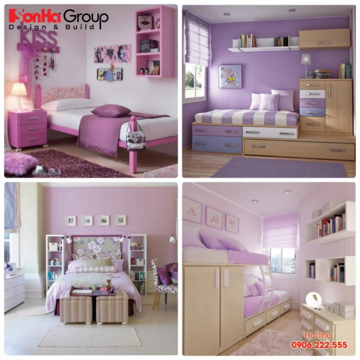 Các phiên bản phòng ngủ đẹp màu tím cho bé yêu mệnh Thổ