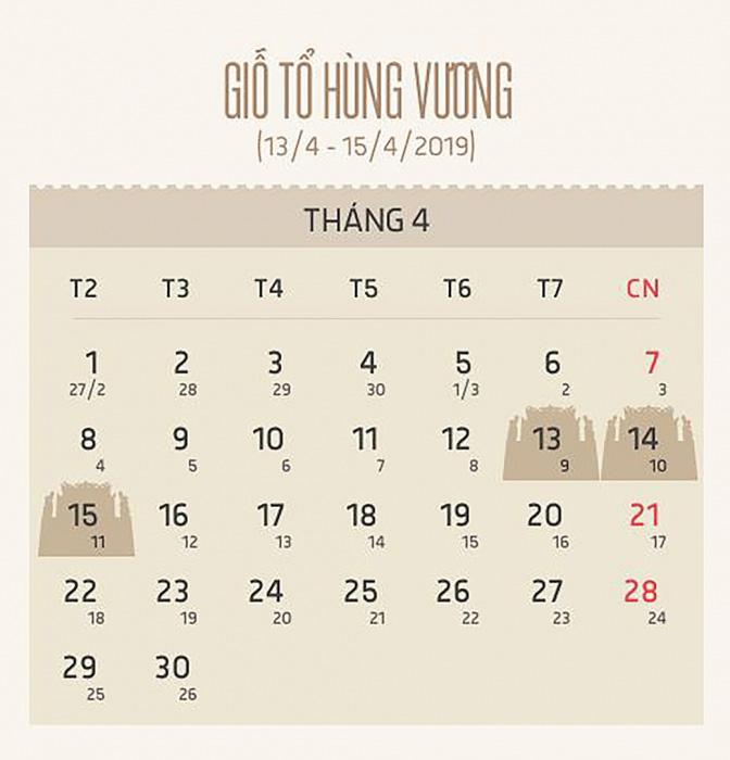 lịch nghỉ giỗ tổ hùng vương năm 2019