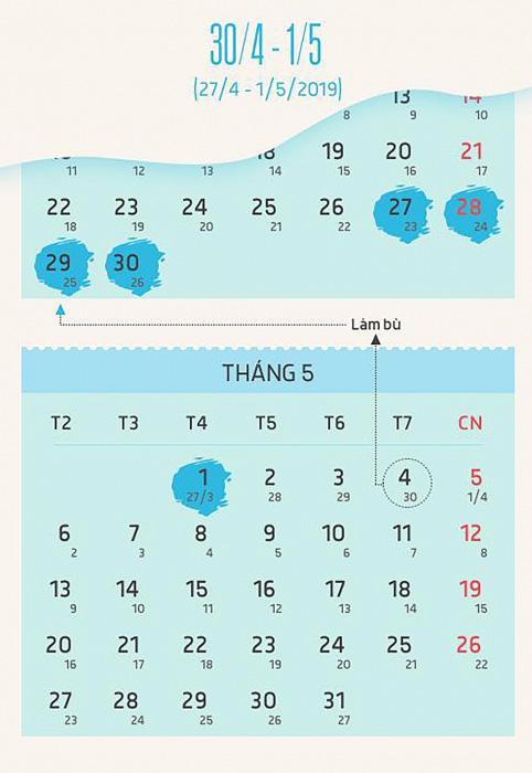 lịch nghỉ lễ 30 4 1 5 năm 2019