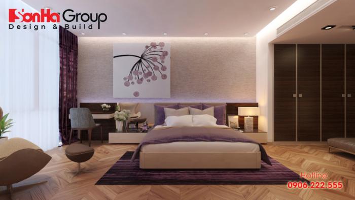 Mẫu phong ngủ đẹp dùng nội thất gỗ màu tím hợp phong thủy mệnh Thổ