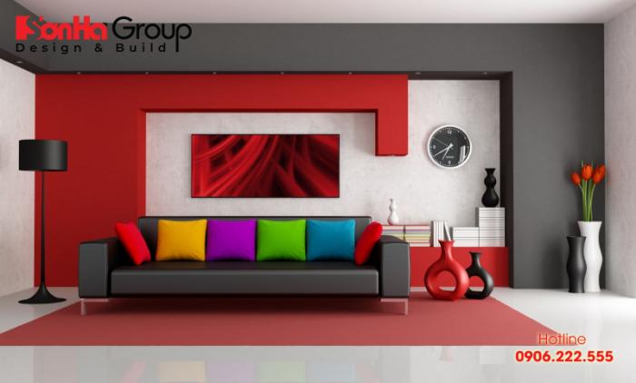 Một góc trang trí phòng khách ấn tượng với màu đỏ cho người mệnh Hỏa