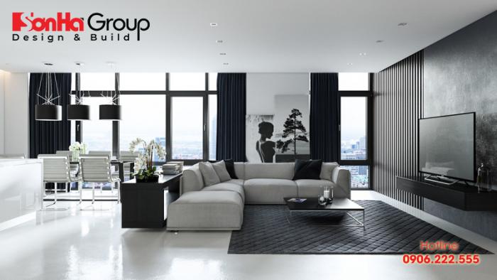 Sự kết hợp gam màu đen trắng trong chọn đồ nội thất cho mệnh Thủy