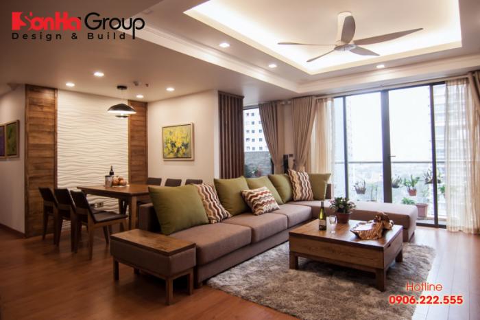 Thiết kế nội thất căn hộ sang trọng với đồ nội thất gỗ lựa chọn hợp với mệnh