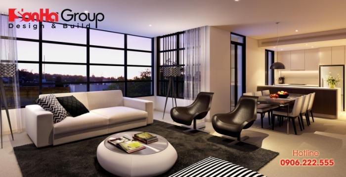 Thiết kế nội thất phòng khách hiện đại sang trọng cho căn hộ chung cư