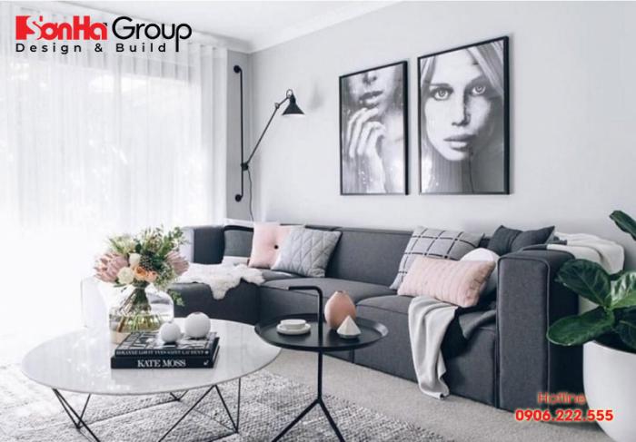 Thiết kế nội thất phòng khách trắng xám hiện đại cho gia chủ mệnh Kim