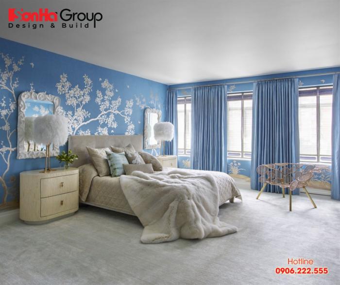 Trang trí phòng ngủ với màu xanh nước biển rất phong thủy với mệnh Mộc