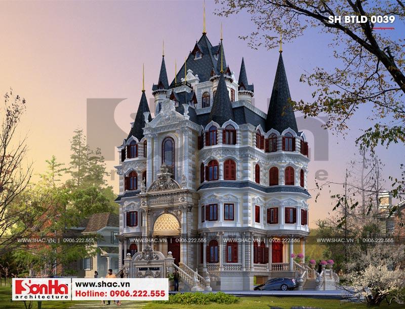 Thiết kế biệt thự lâu đài diện tích 18x9m 4 tầng 1 hầm 1 tum tại Hà Nội – SH BTLD 0039 2