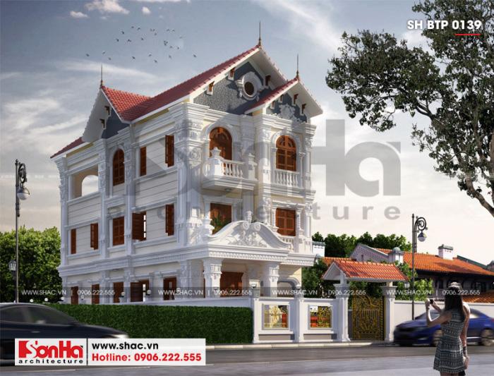 Thiết kế biệt thự tân cổ điển 3 tầng tại Hải Phòng nổi bật với mái thái
