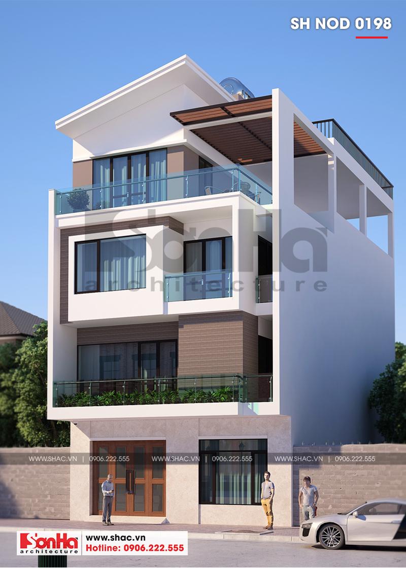 Mẫu nhà phố hiện đại mặt tiền rộng với 4 tầng được thiết kế khang trang